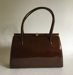 GOLD CROSS 1950s Bronze Patent Leather Vintage Handbag Suede Leather Lining & Elbief Frame