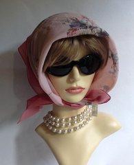 "St Michael 24"" Scarf Vintage 1980s Polyester Pink Floral Stitched Hem Edge"