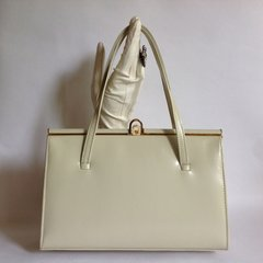 Classic Ivory 1950s Leather Vintage Handbag With Dark Tan Suede Lining