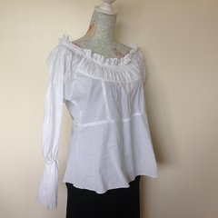 Unbranded 100% Cotton Lawn White Off The Shoulder Blouse With Gathered Cuff Size 12