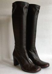 "Ursula Mascaro Brown Leather 3"" Heel Knee Hi Pull On Fabric Line Boot Size UK 6 EU 39"