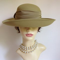 Jacques Vert Ladies Wedding Races Formal Hat Light Olive Green
