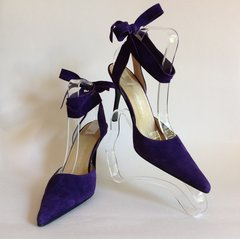 Russell & Bromley Purple Suede Leather Ankle Strap Pointed Stiletto Shoe UK 5 EU 38