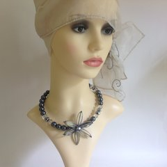 Grey Pearl & Glass Costume Necklace Choker With Flower Decoration