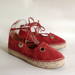 River Island Russet Red Suede Criss Cross Tie On Espadrilles Size UK 5 EU 38.