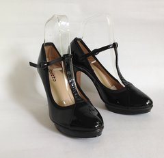 "Repetto Black Patent Leather T Bar Shoes 3.75"" Slim Heels Platform UK 3.5 EU 36 Marked size 36"