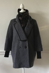 Oasis Grey Bouclé Double Breasted Ribbed Mutton Cuff Hip Length Coat Size 8 marked as XS
