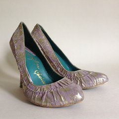 "Irregular Choice Lilac & Gold 4"" High Heel Suede Court Shoe UK 5 EU 38"