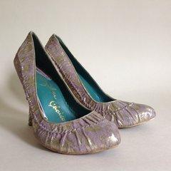 "Irregular Choice Lilac & Gold 4"" High Heel Suede Court Shoe UK 5 EU 38"