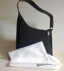Stuart Weitzman For Russell & Bromley Charcoal Fabric & Black Leather Shoulder Bag Black Vinyl Lining And Protective Bag