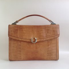 1960s Tegu Lizard Skin Vintage Handbag In Camel With Matching Leather Lining