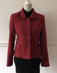 L.K.Bennett Red Bouclé Jacket Cropped Size 10 100% Wool Outer shell