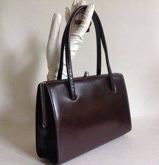 Debroyal Coated Leather Brown 1950s Vintage Handbag With Very Light Beige Suede Interior