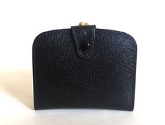 Black Textured Leather 1950s Vintage Coin Purse Wallet Leather Lining