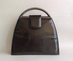 Russell Bromley Stuart Weitzman Handbag Vintage Style Olive Patent Metal Handles