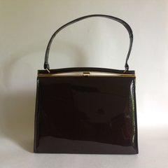 Alligator 1950s Brown Patent Leather Vintage Handbag
