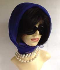 Royal Blue Silver Flecked Vintage 1960s Nylon Chiffon Scarf Rolled & Stitched Hem