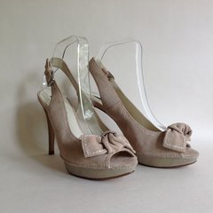 Zara Beige Suede Leather Grey Slingback Peep Toe High Heel Shoe UK 6 EU 39