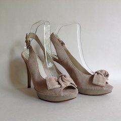 Zara Beige Suede Leather Grey Slingback Peep Toe High Heel Shoe UK 6 EU 39