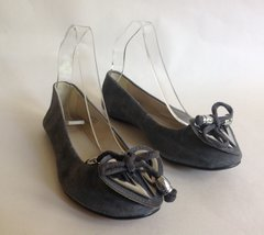 Top Shop Ballerinas Grey Suede Ballet Pumps Shoes Bow & Heart Detail UK 3 EU 36
