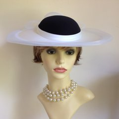 Headways By Albert White Hat With Black Top & Under Cap Church Weddings