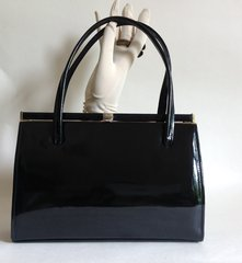 ACKERY Black Patent 1950s Vintage Handbag Buff Suede Lining With Mirror & Elbief Frame