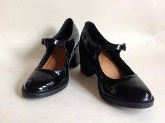 Black Patent Round Toe School Shoe Style Mary Jane Shoes Size UK 4 EU 37