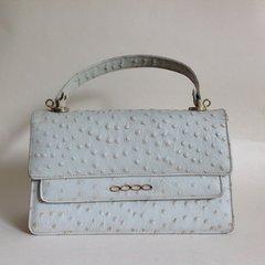 Trumar's Light Grey Ostrich Print Leather 1970s Vintage Handbag Suede Lining