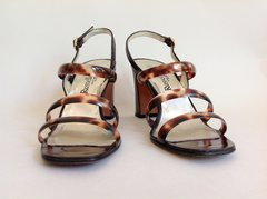"Russell & Bromley Brown Leather & Plastic 3.5"" Slim Heel Sandal Size UK 4.5 EU 37.5"
