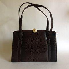 Marquessa Brown Lizard Skin Suede Lined 1950s Vintage Handbag