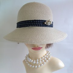 Tom Franks 100% Paper Church Casual Sun Hat With Polkadot Ribbon And Bow Detail