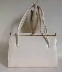 Debenhams Classics Vintage Handbag Ivory Faux Leather Ivory Rayon Fabric Lining