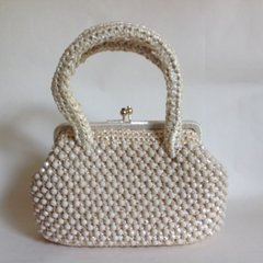 Small Ivory Beaded & Crochet 1960s Vintage Basket Handbag   With Fabric Lining
