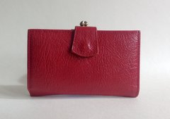 Madison Red Leather 1950s Vintage Coin Purse Wallet With Brown Leather Lining Brass Toned Frame.With kiss clasp