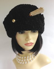 S J Maughan of London. Russian Cossack Style Black Faux Astrakhan Hat With Dark Red Fabric Lining One Size