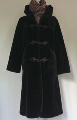 English Lady Synthetic Faux 1960s Fur Coat Below Knee Dark Brown Size 10 - 12