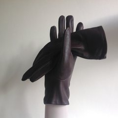 St Michael  Vintage 1960s Brown Leather Tailored Gloves With Silk Lining Size 6.5