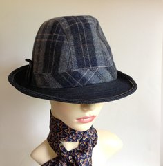 Bailey Of Hollywood Blue Grey Cotton/Wool Men's Stingy Brim Trilby Hat Inside measures 23 Inches
