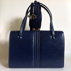 Freedex 1950s Blue Faux Leather Large Vintage Handbag With Cream Suede Lining