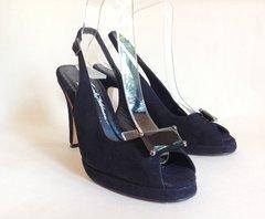 Russell & Bromley Beverly Feldman 'Swanky'Black Suede Leather   Slingback Peeptoe Shoe   UK 5 EU 38