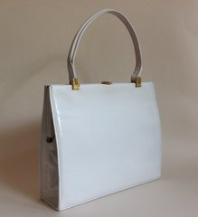 Jane Shilton 1950s White Leather Vintage Handbag Kelly Bag With Fabric Lining