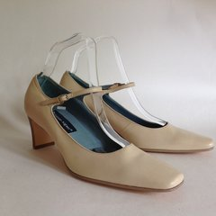 Etienne Aigner Butter Cream Beige Leather Mary Jane Shoes UK 6 EU 39 US 8.5
