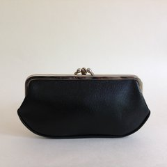 Black Large Textured Leather 1950s Vintage Double Sided Coin Purse Mad Men.