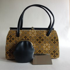 1950s Mustard Vintage Welsh Tapestry Wool & Pleather Handbag Coin Purse Mirror Mad Men Kelly Bag
