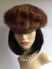 Silk Edged Real Fur 1950s Vintage Brown Beret Fully Lined Size 22 Inch