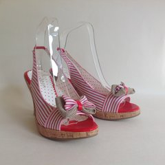 Odeon Vintage 50s Inspired Rockabilly Red & White Striped Sandal Shoe UK 4 EU 37