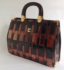 J Perez 1960s Vintage Handbag Shoulderbag Multi Lizard Skin & Brown Leather Trim