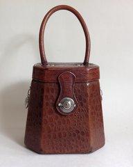 1960s Chestnut Brown Moc Croc Synthetic Reticule Shape Vintage Handbag