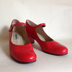 DUNE 'Dobbin' Red Leather Round Toe Vintage Style Mary Jane Shoes Size UK 6 EU 39
