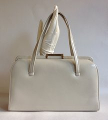 Large Ivory 1950s Leather Vintage Handbag With Suede Lining Kelly Bag Mad Men